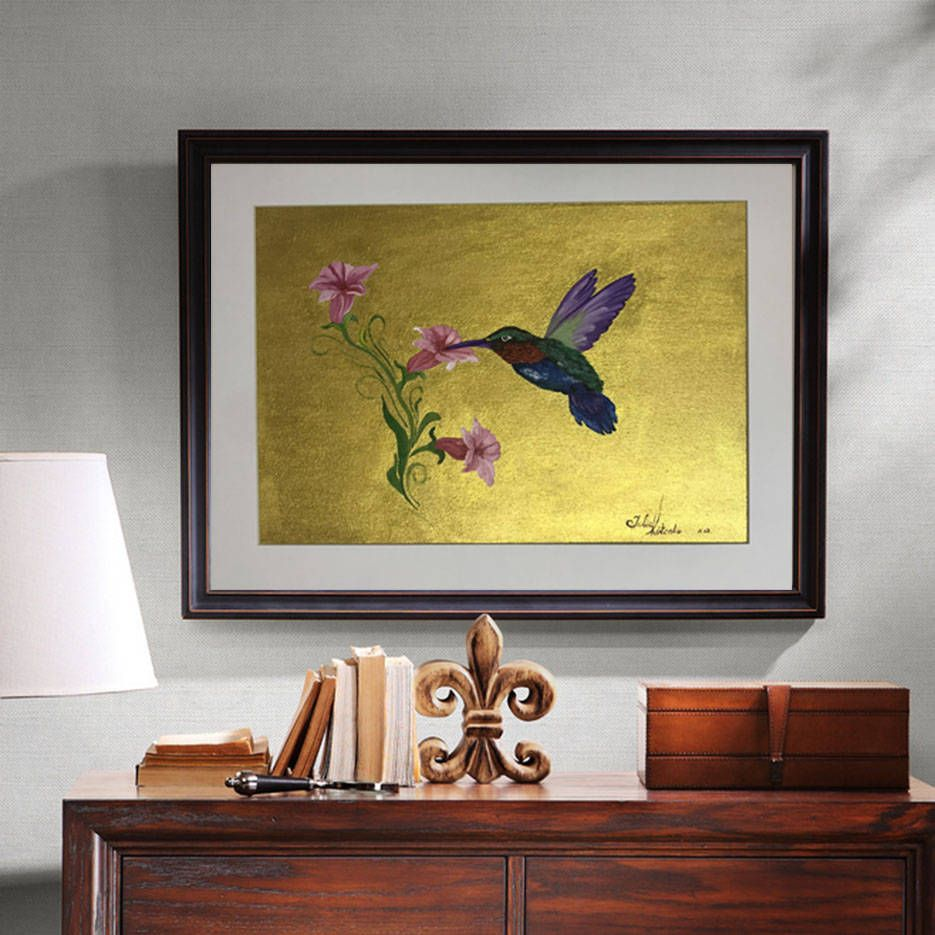 Original Humming bird Oil Painting Gold Painting,Wall Art Modern ...