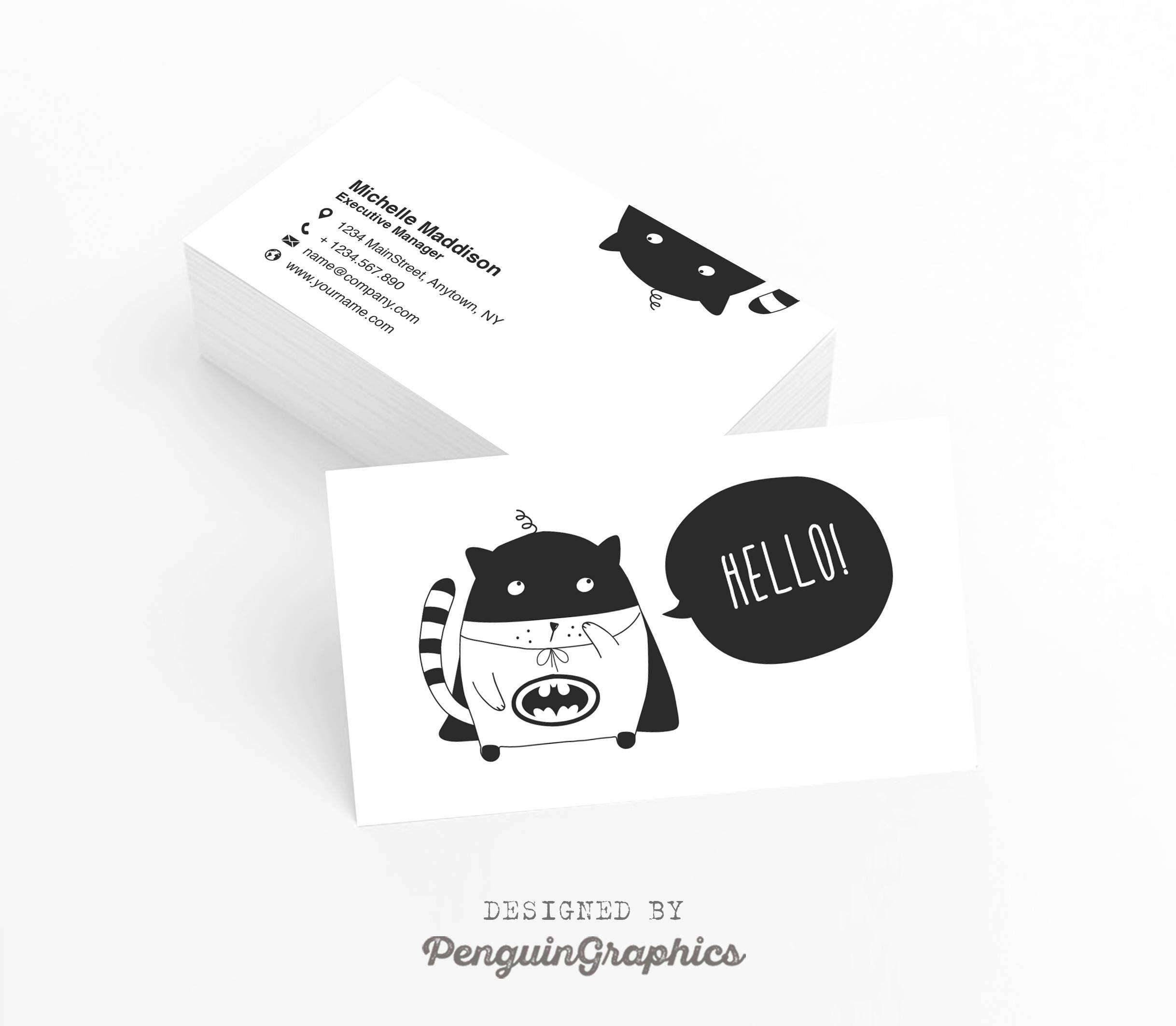 Business card. Funny business card design. Custom contact card ...