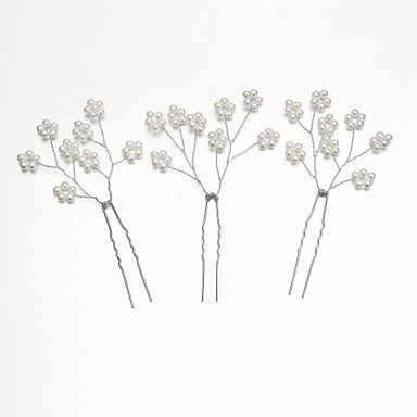 Women/Flower Girl Alloy/Imitation Pearl Hairpins With Wedding/Party Headpiece (Set of 3) – USD $ 2.99