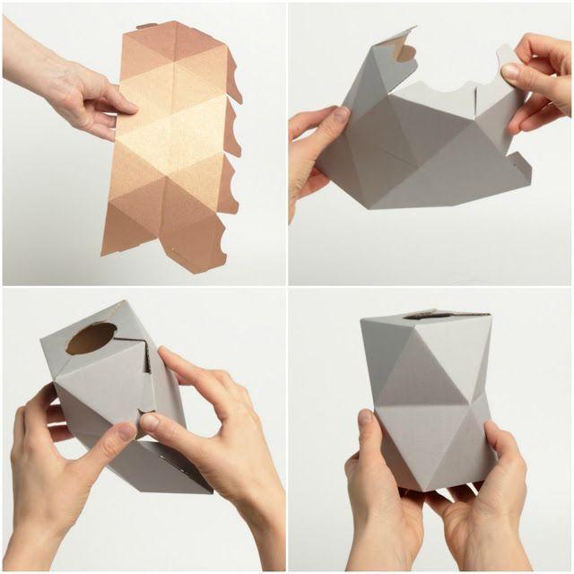 Diy jarrones geom tricos de dise o papel cart n for Disenos de jarrones