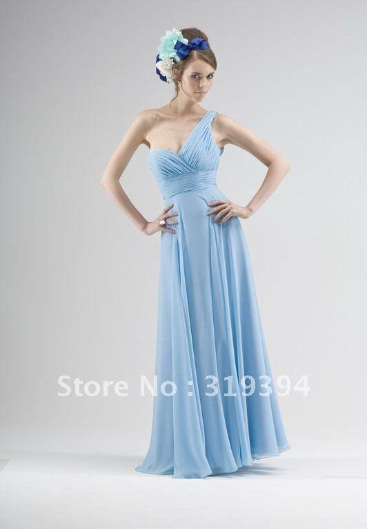 Blue Chiffon Bridesmaid Dress - Ocodea.com