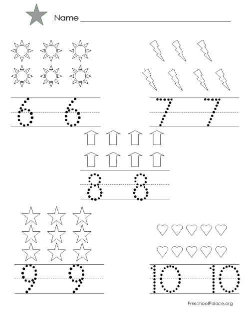 Number Tracing 6 10 Writing Numbers Learning Worksheets Worksheets