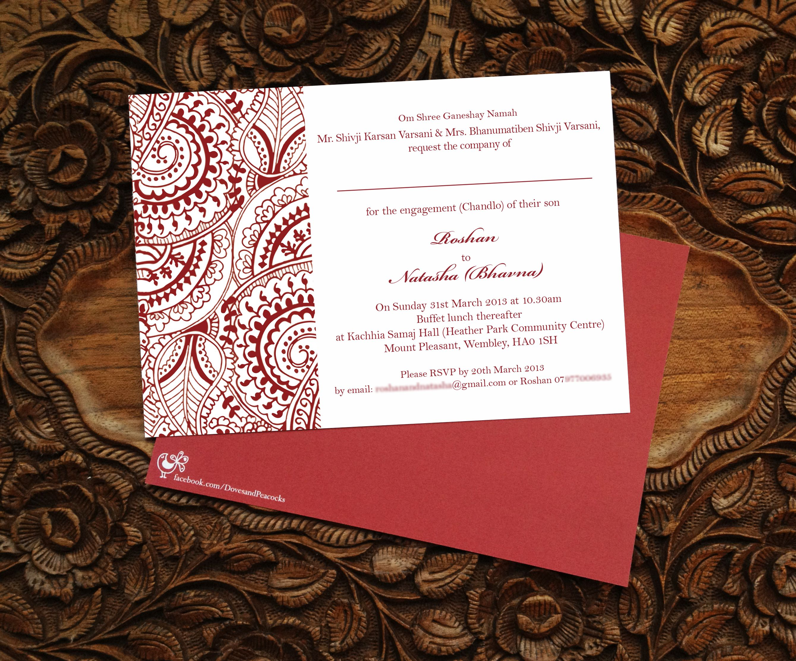 Henna, Mehndi, Indian Pattern, Engagement Invitation design - by ...
