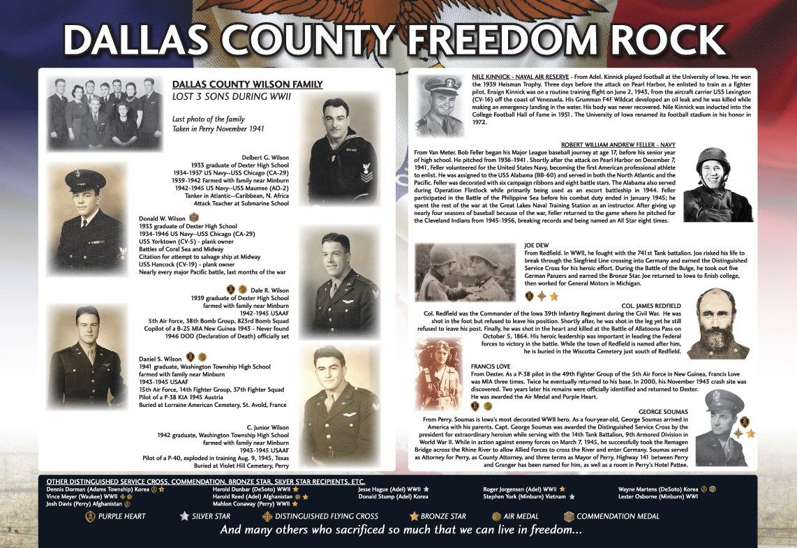 Dallas County Heroes Listed On The Freedom Rock Storyboard Dallas County County Dallas