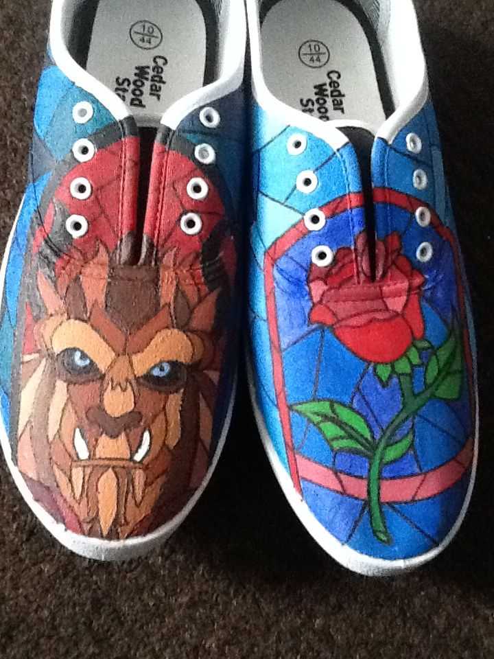 beast canvas shoes painted