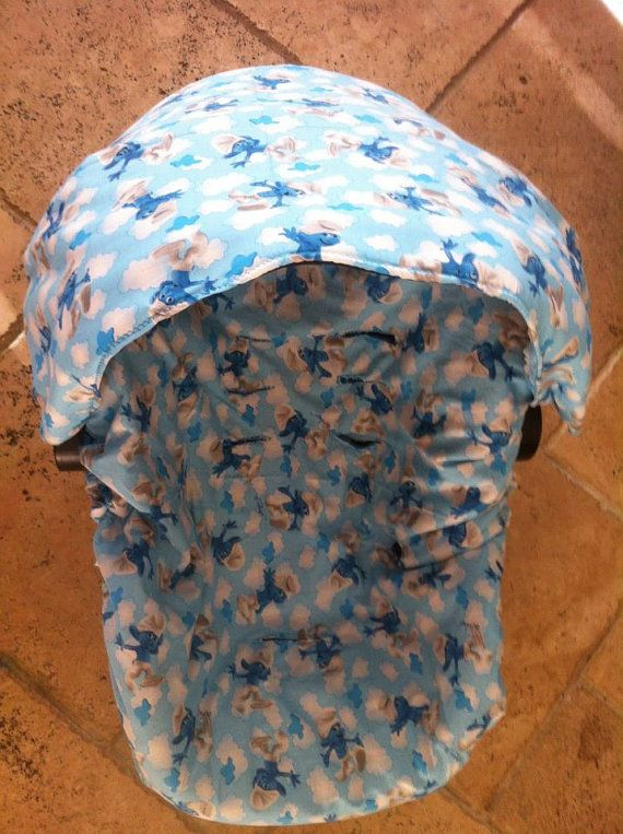 Phenomenal Smurfs Infant Car Seat Cover With Canopy Cover On Etsy Camellatalisay Diy Chair Ideas Camellatalisaycom