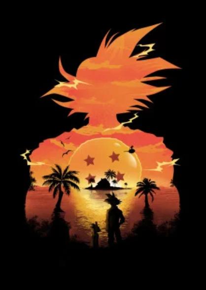 Dragon ball Anime Illusion Negative Space Metal Poster