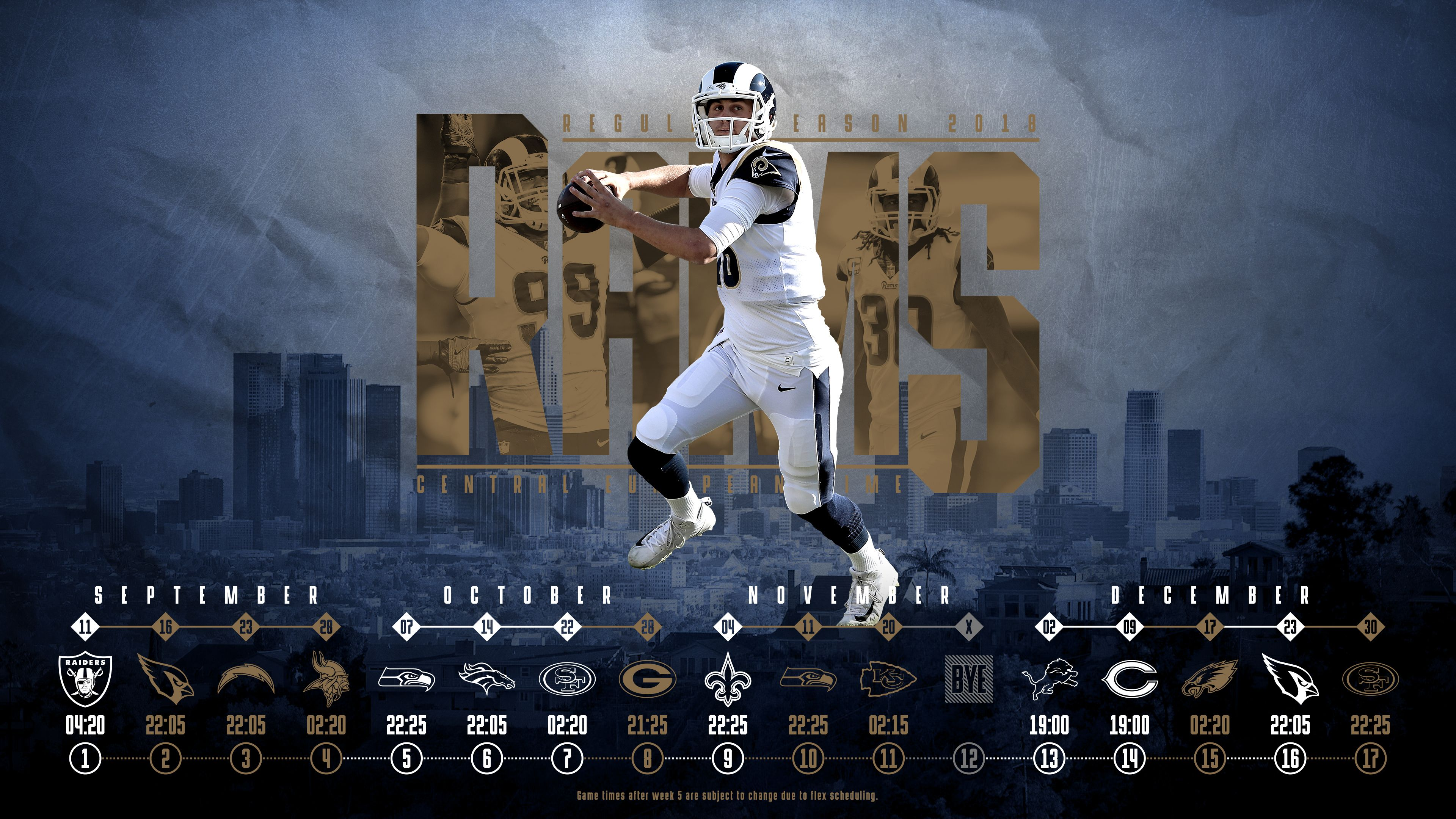 Schedule Wallpaper For The Los Angeles Rams Regular Season 2018 Central European Time Made By Tobler Gergo Tgersdiy Los Angeles Rams Nfl Los Angeles