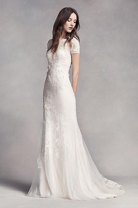 Vera Wang White cap illusion lace sheath/435010002308, $1,000 Size ...