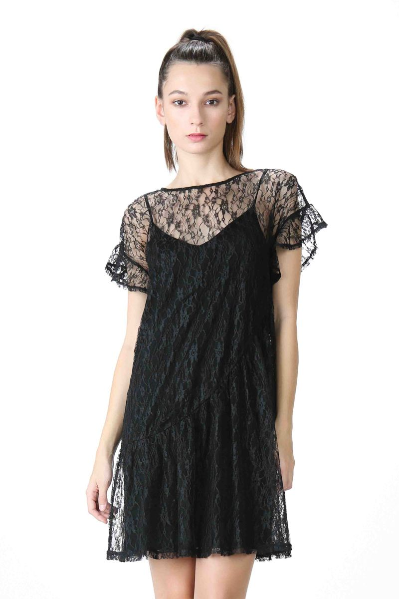 918b8345b918e Lumiere - Young Contemporary Short-sleeve, sheer lace shift dress with slip  dress.