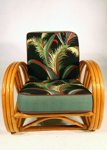 Strand Pretzel Rattan Chair Barkcloth Cushions Vintage Furniture