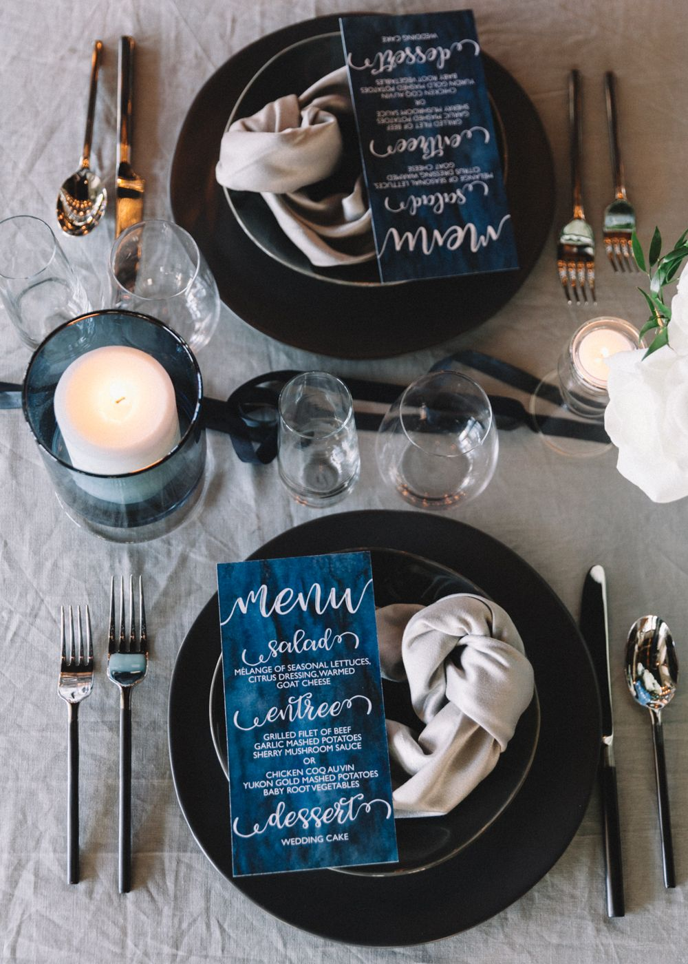 Elevated nautical themed wedding deep navy blue and white
