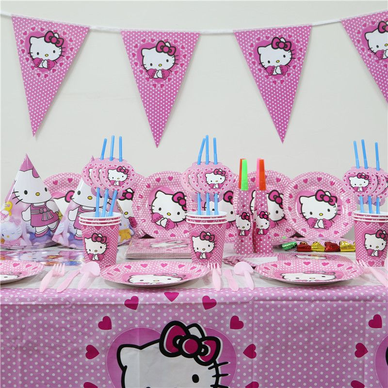 3ee7b85e567a HOT 1Pack 114pcs Kids Birthday Party Decoration Set first Hello Kitty Theme Party  Supplies Baby Birthday Party For 12 People Use   Price   60.36   FREE ...