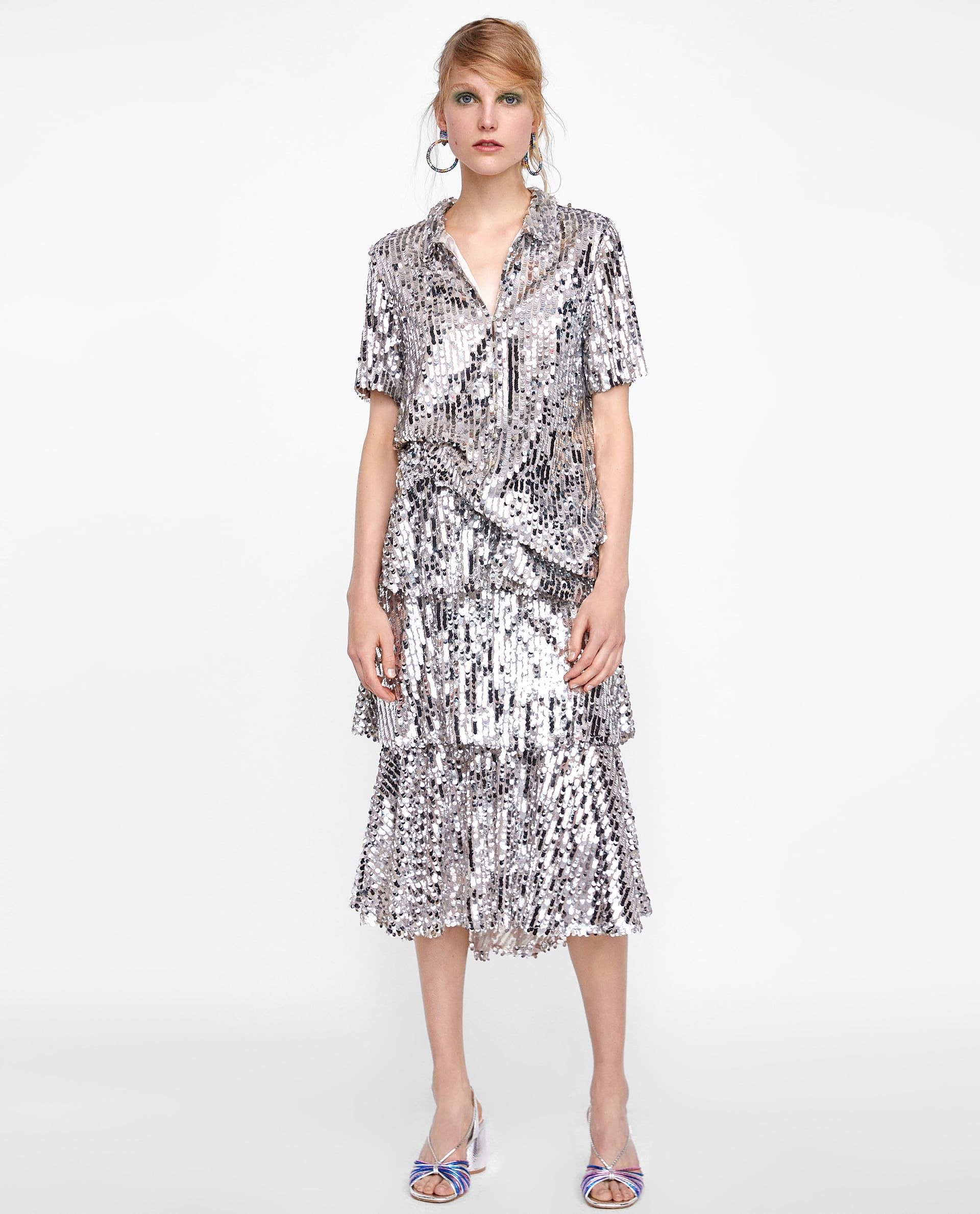 f38eee2c VESTIDO CAMISERO LENTEJUELAS | Fashions | Zara dresses, Dresses ...