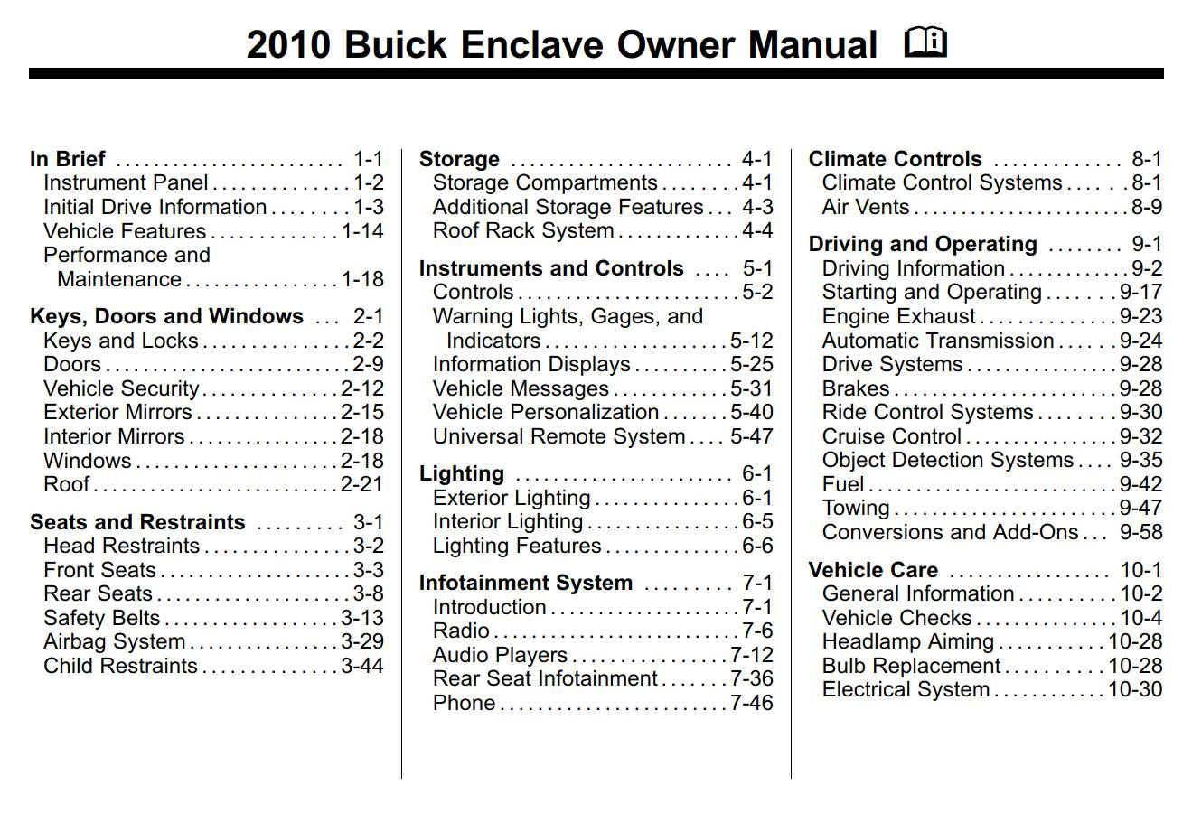 Buick Enclave 2010 Owner S Manual Has Been Published On Procarmanuals Com Https Procarmanuals Com Buick Encla Owners Manuals Buick Enclave Chevrolet Traverse