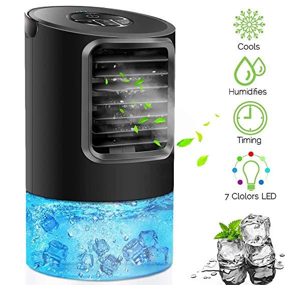 Amazon Com Portable Air Conditioner Fan Kuuote Personal Space Air Cooler Quiet Desk Fan Mini Evaporative Cooler With 7 Air Cooler Evaporative Cooler Desk Fan
