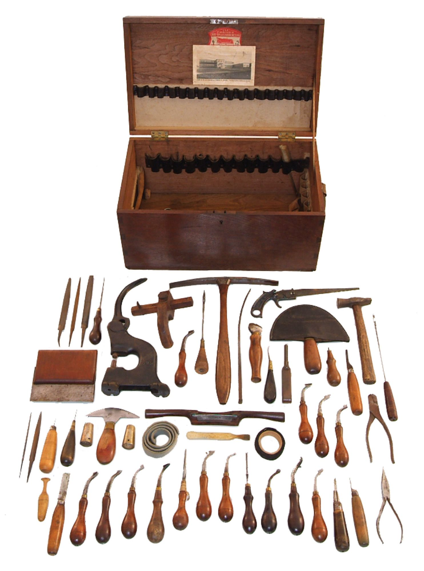 A Working Set Of Leather Tools Including Creasers Awls Printed Circuit Board Connector 32 Pin Solder Eyelet In Mumbai Screw Creaser Edge Very Nice Saddlers Hammer Wooden Draw Gauge