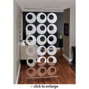 Hanging Room Divider Panel Screen Ring Pattern in Acrylic Mirror