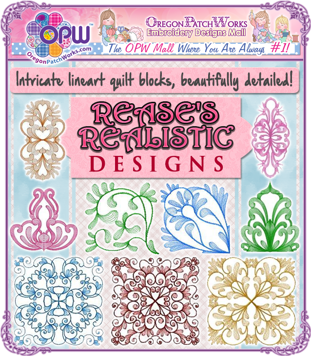 Intricate lineart quilt blocks, beautifully detailed and designs, from Rease's Realistic Designs!