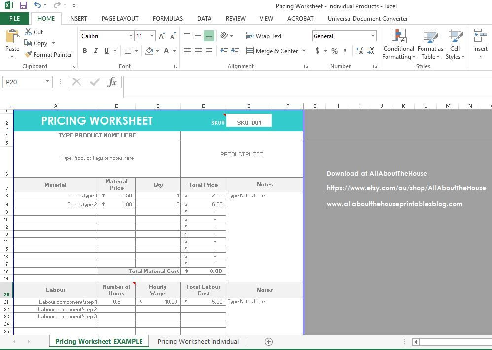 pricing worksheet template, excel file, etsy seller, business tool