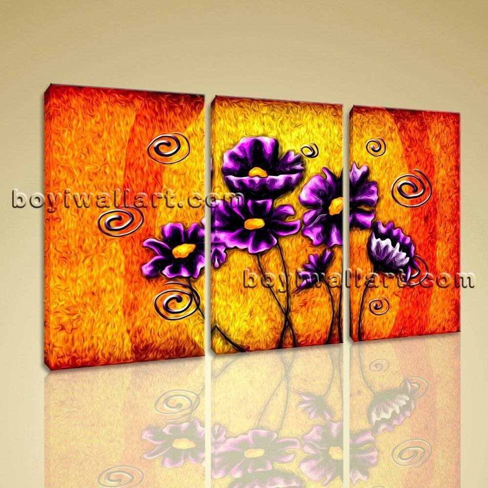 Large abstract acrylic flower paintings floral modern print on