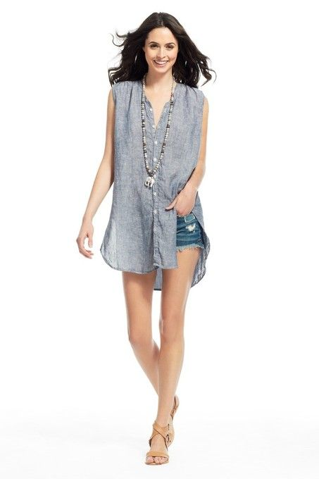 3615252f Karla Chambray Linen Sleeveless Button Down by CP Shades | Home by ...