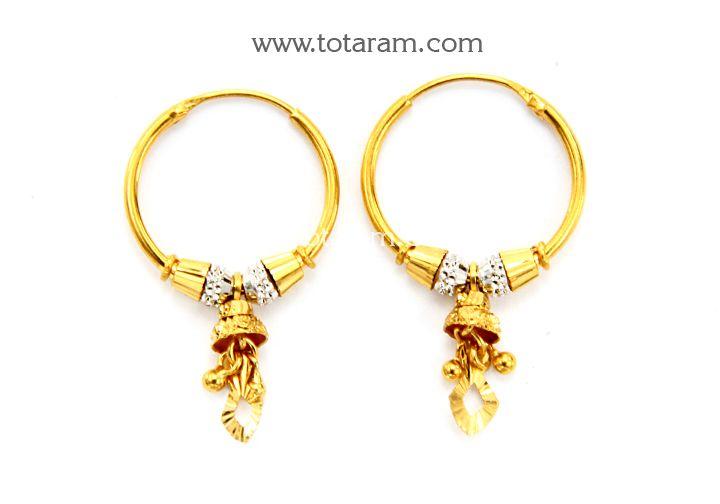 22K Gold Hoops Ear Bali Indian Gold Hoops Bali Pinterest