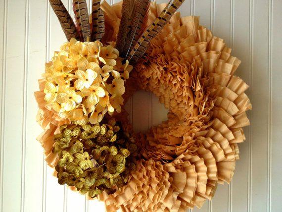 Coffee filter wreath for fall. fall wreath by YourHandmadeWreath