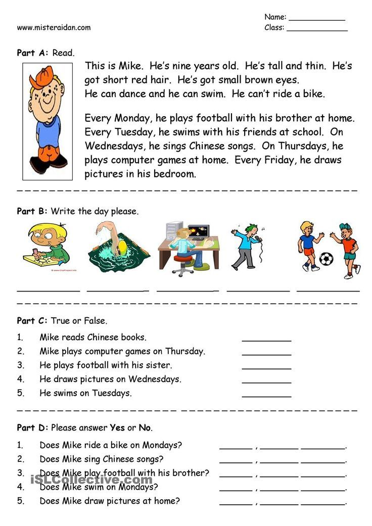 Days Of The Week Easy Reading Prehension