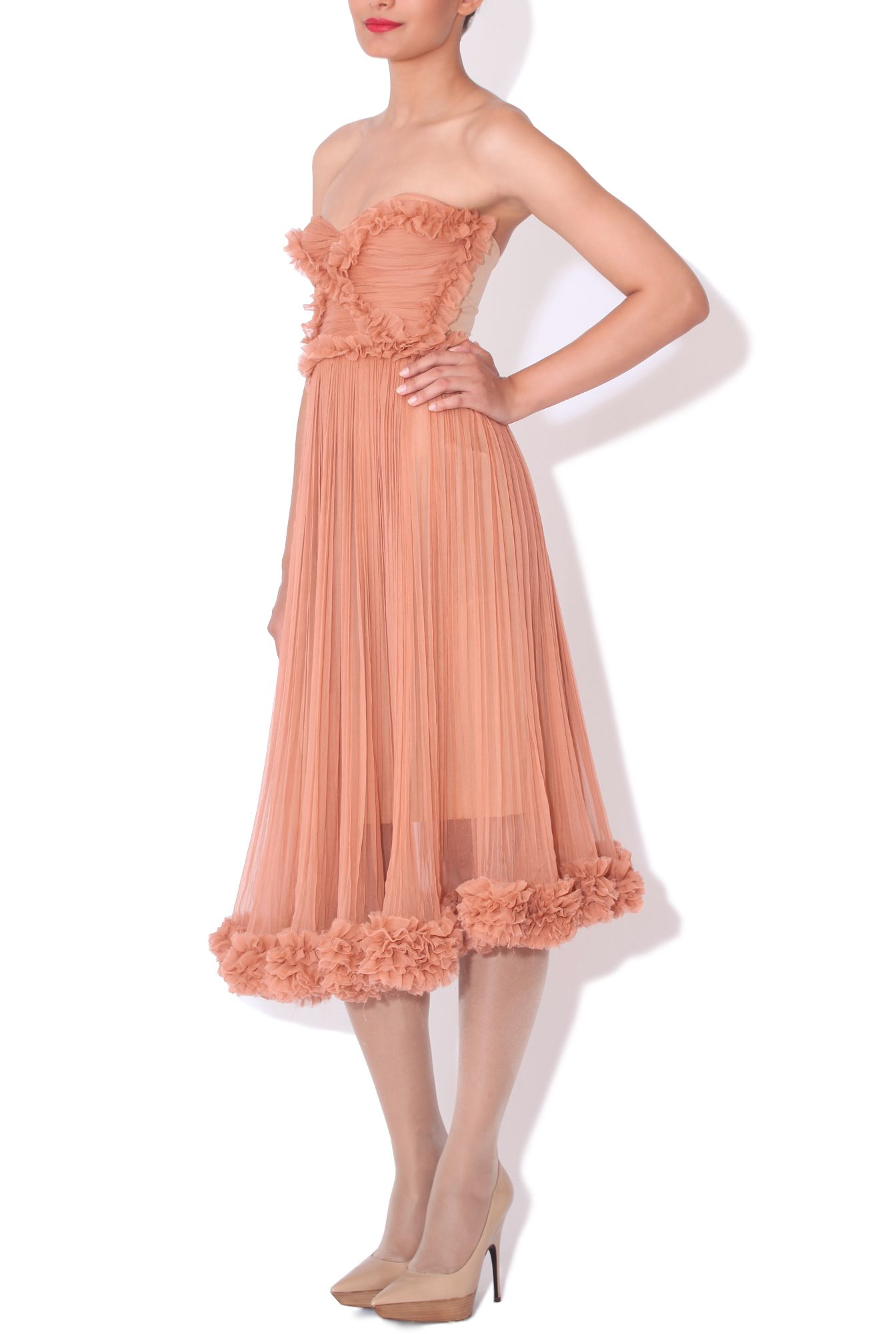 Maria lucia hohan silk chiffon pleated dress in muted coral fashion