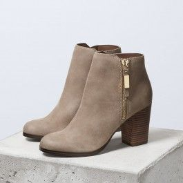 Taupe Vintage Boots Round Toe Chunky Heel Ankle Boots 5