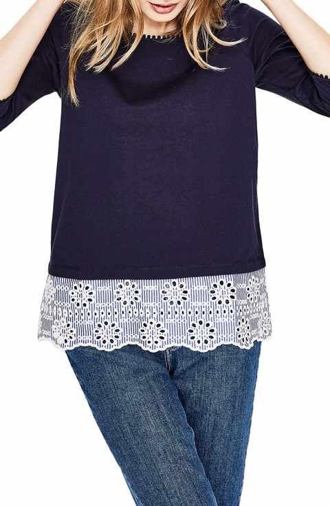 2c03eed02e1d8b Boden Stripe Eyelet Hem Cotton Top | Fall Fashion | Tops, Cotton, Boden