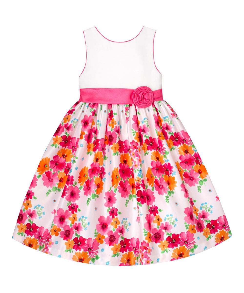 2ce25281a White Pink   Blue Floral A-Line Dress - Infant Toddler   Girls ...
