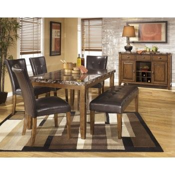 Lacey Rectangular Dining Room Table 4 Uph Side Chairs Large Uph