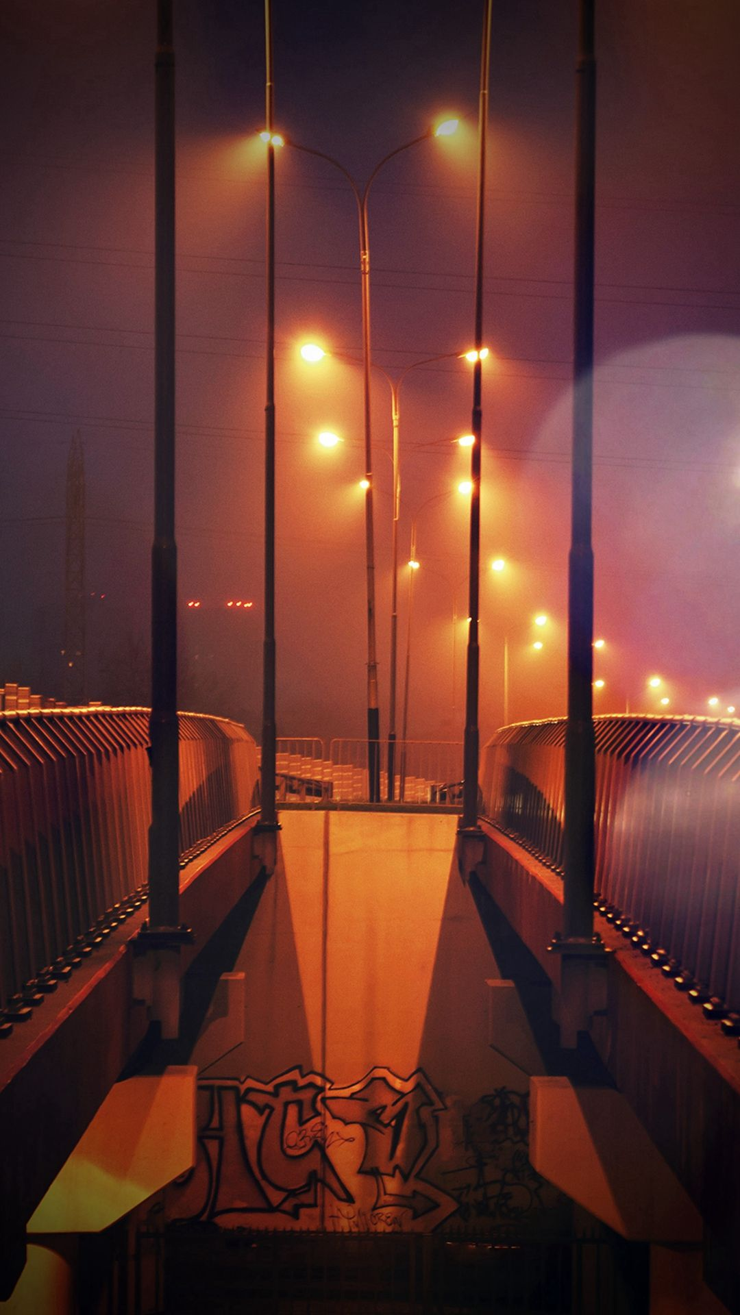 Night Bridge City View Lights Street Orange Flare IPhone 6 Plus Wallpaper