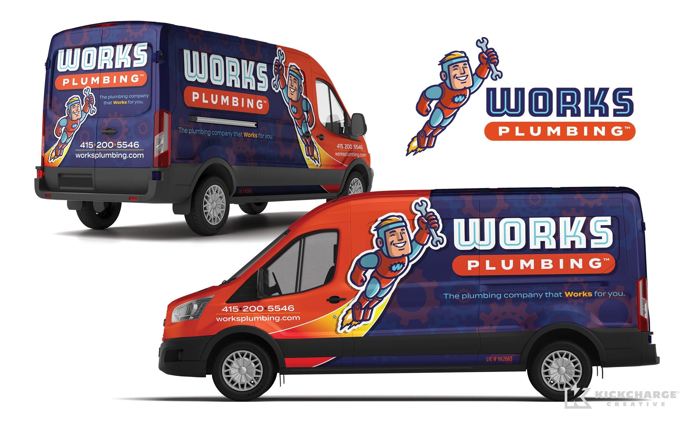 Works Plumbing Kickcharge Creative Plumbing Logo Design