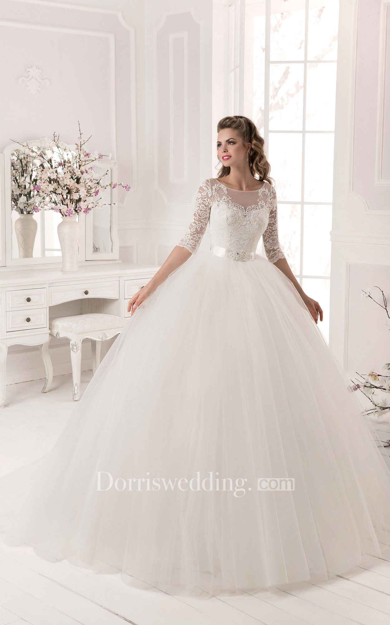 Ball gown wedding dress with sleeves  Ball Gown LaceuTulle Long Sleeve Dress with Crystal Detailing