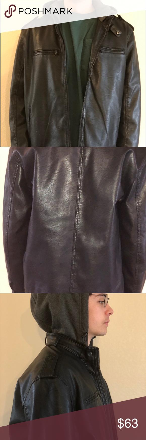 Levi S Faux Leather Hoodie Jacket Xl Black Leather Hoodie Faux Leather Hoodie Hoodie Jacket [ 1740 x 580 Pixel ]