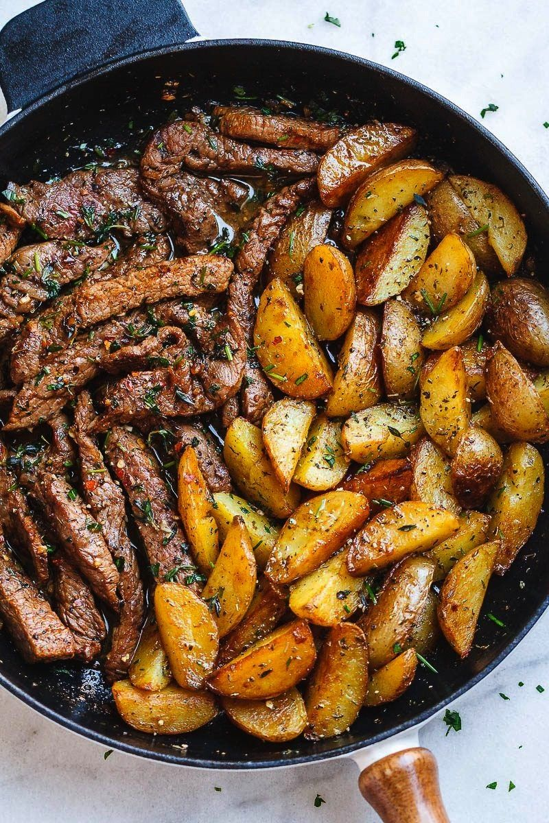 Butter Steak and Potatoes Skillet - This easy one-pan recipe is SO simple, and SO flavorful. The be