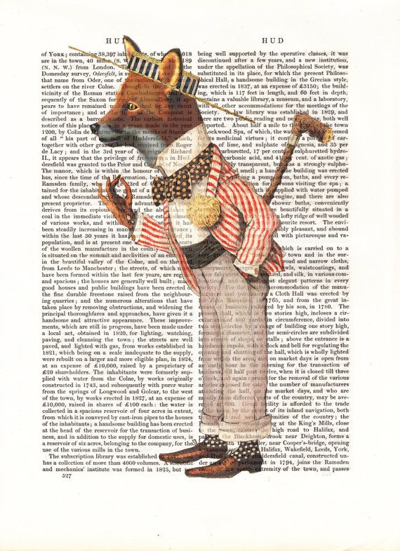 Fox in Boater Art Giclee Print Acrylic Painting by FabFunky, $12.00