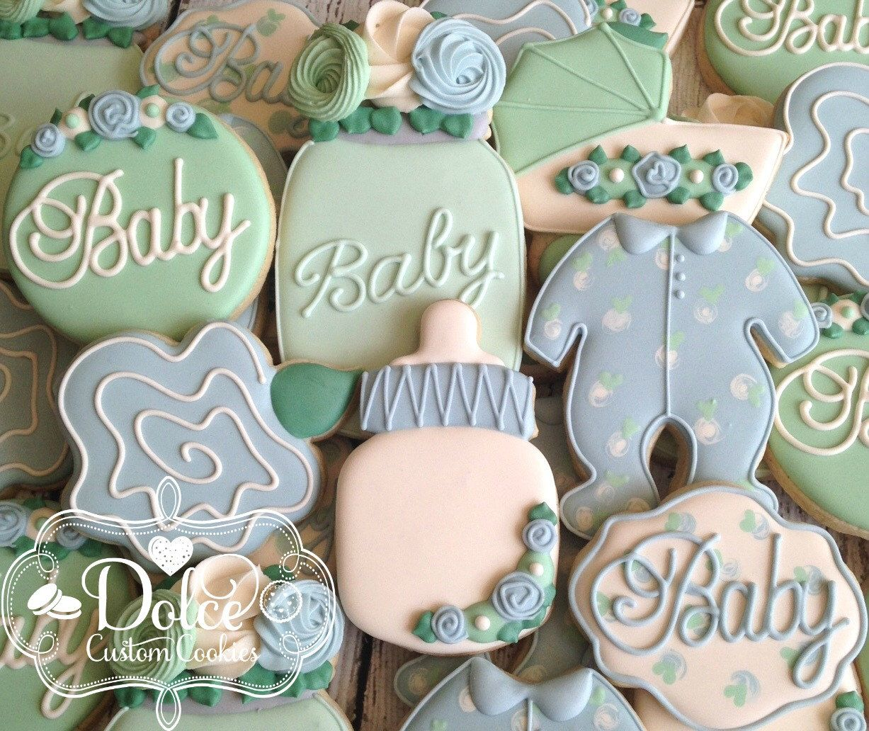 Garden Party Floral Shabby Chic Baby Shower Cookies By DolceCustomCookies  On Etsy Https://