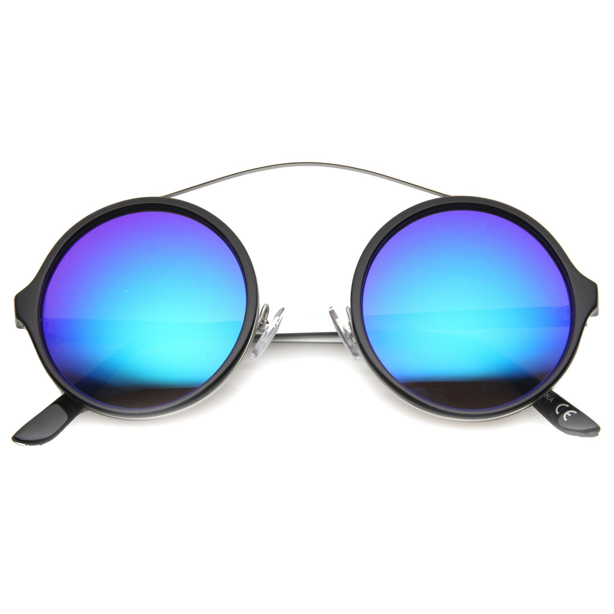 0eada9c4dc7a Retro High Cross Bar Mirror Lens Round Sunglasses 9842