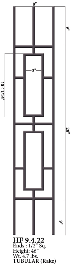 HF9.4.22 Two Rectangles Rake Tubular Steel Panel | Westfire Stair Parts