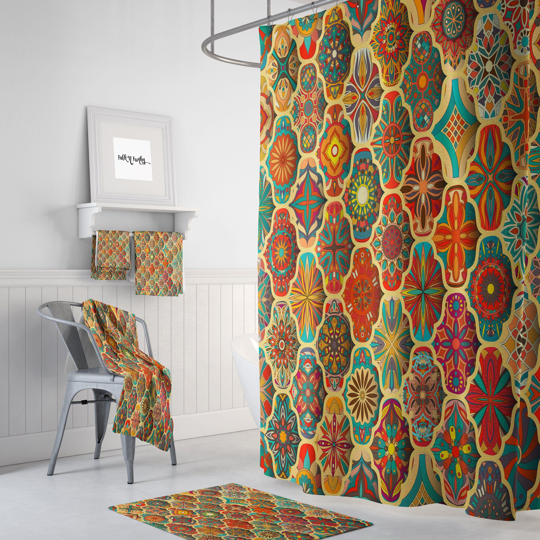 Boho Batik Shower Curtain Curtains Fabric Shower Curtains
