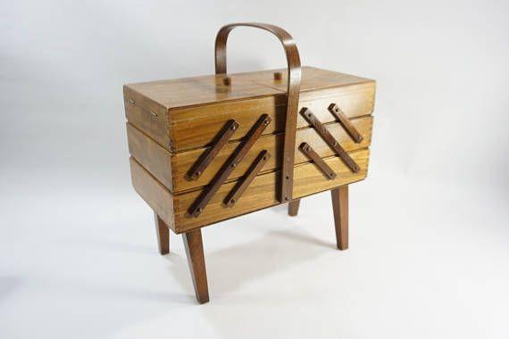 Vintage SEWING storage box Wooden Accordion Style Wooden Thread