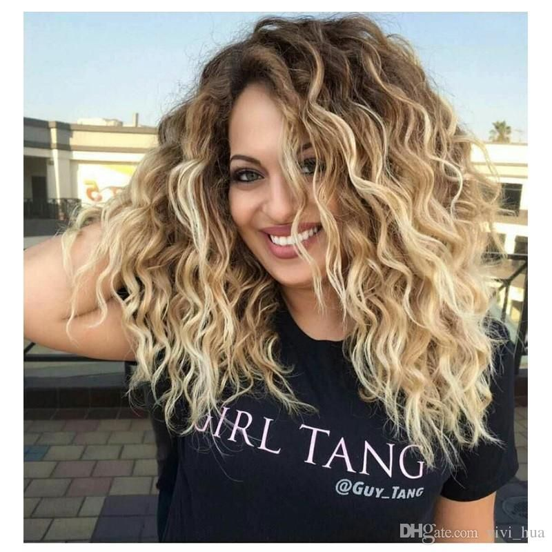 Curly Blonde Dark Roots Short Wavy Curly Hair Hair Styles Curly Hair Styles Naturally