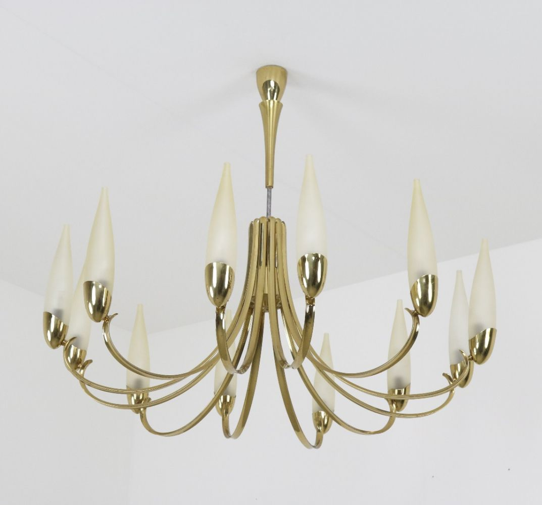 For Sale 12 Arm Stilnovo Chandelier In Brass 1960s Stilnovo Chandelier Stilnovo Chandelier