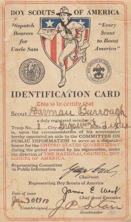 1918 Boy Scouts of America  ID card...