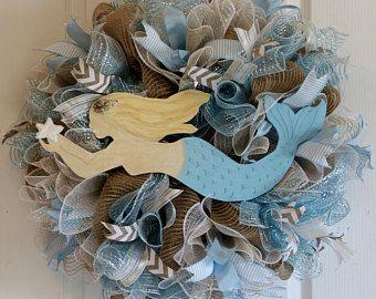 Photo of Brunette Mermaid XL Wreath, Blue Mermaid Wreath, Beach Wreath, Coastal Wreath, Beach Decor, Coastal Decor