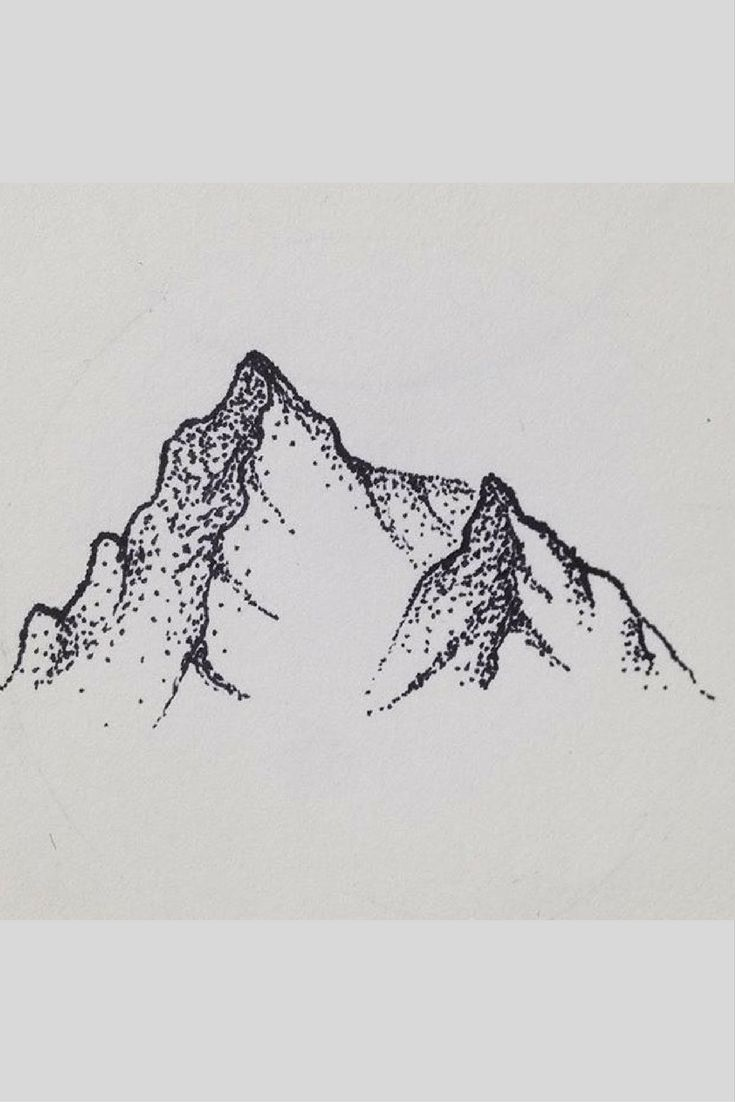 A mountain drawn in the stippling technique with pens stippling drawing charcoal drawing